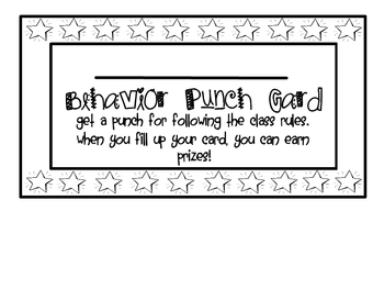 Elementary Positive Behavior Punch Card Behavior Punch Cards Classroom Rewards Positive Behavior