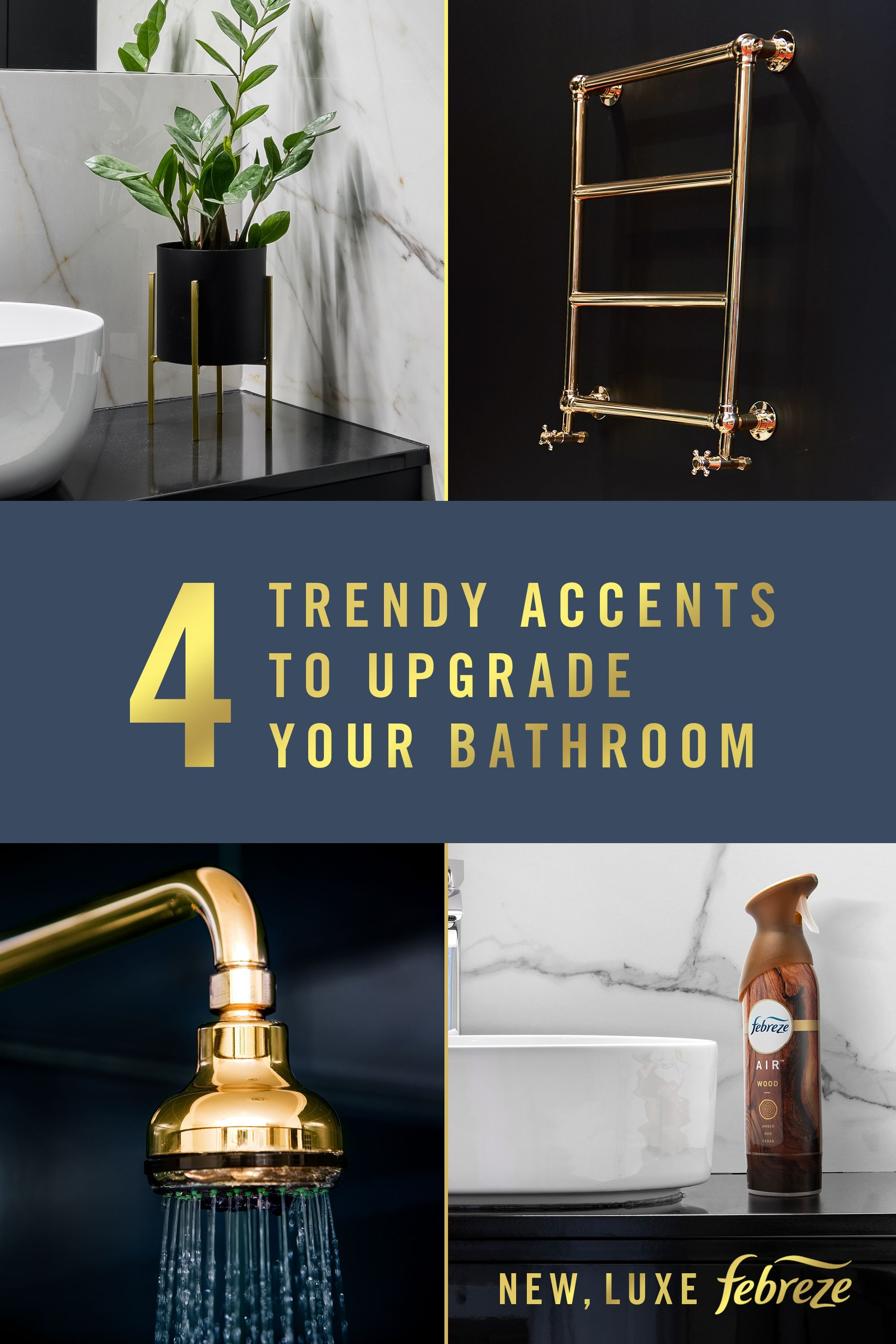 What 39 S On Trend In Bathroom Decor Brass Accents Rich Tones And A Luxurious Scent To Tie It All Together So G In 2020 Bathroom Renovations Cheap Home Decor Home