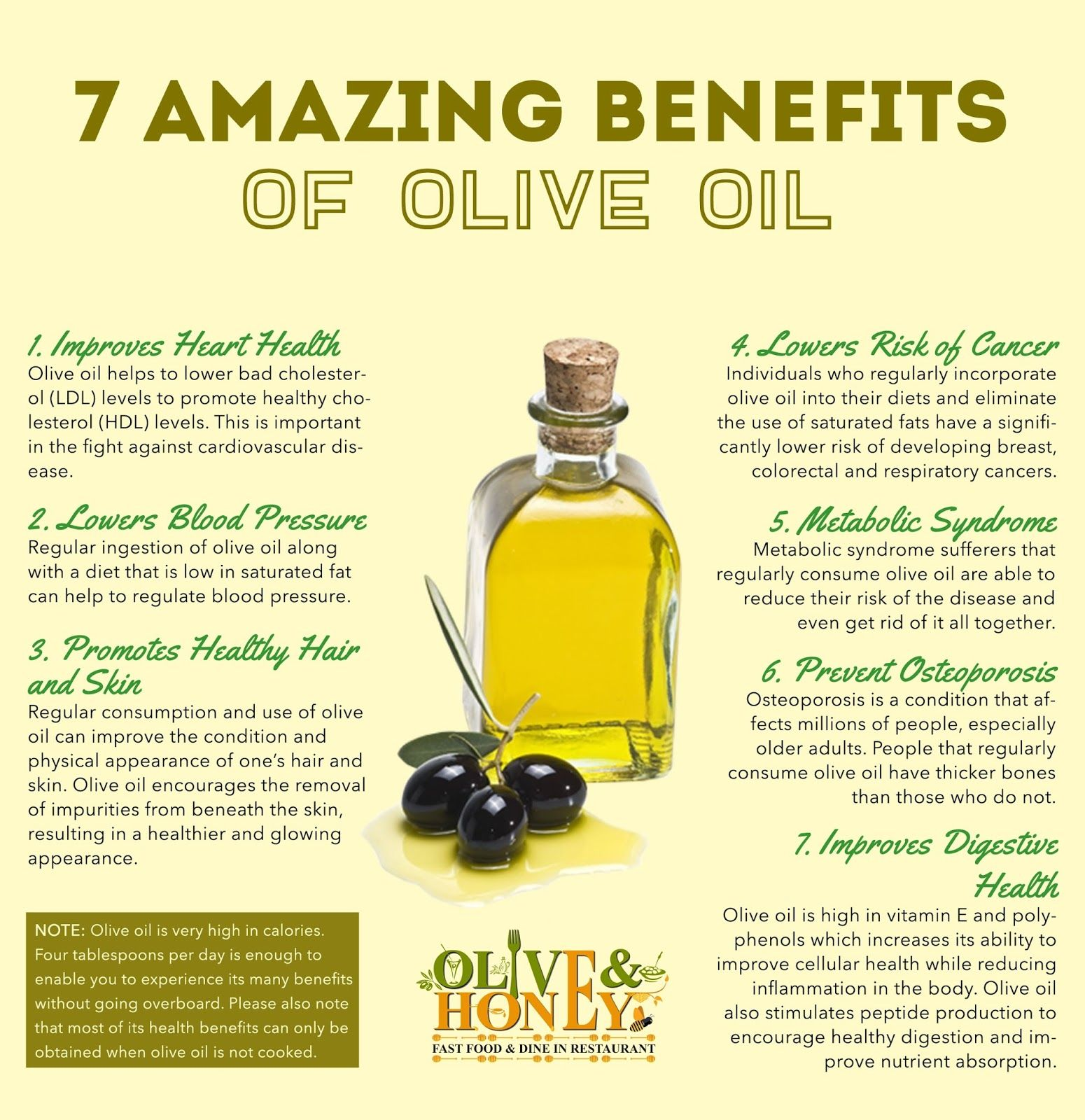 7 amazing benefits of olive oil - this infographic / image