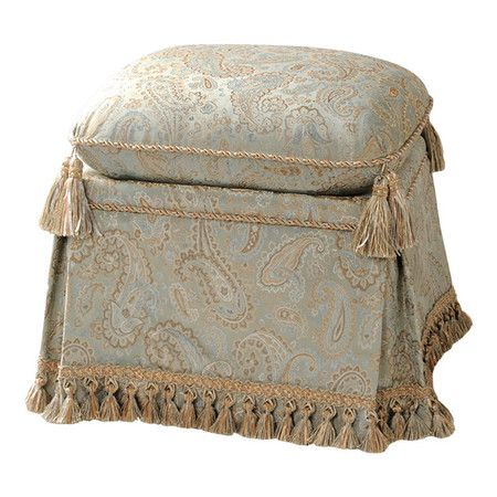 Vanity stool with skirted detail and tassel trim.   Product: Vanity stoolConstruction Material: Polyester ...