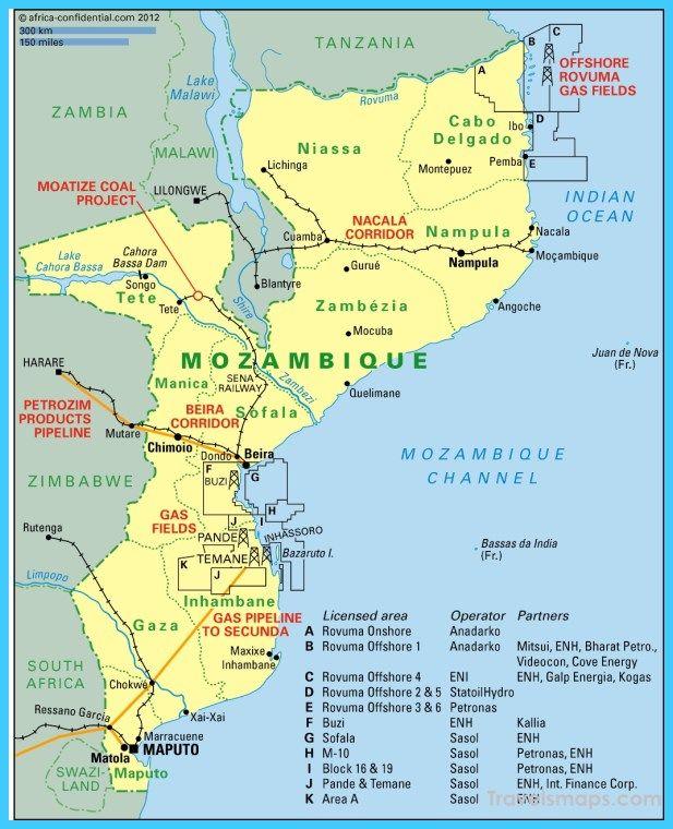 Map Of Mozambique Mozambique Map Travel Maps
