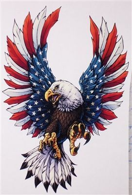 front facing american flag attack eagle full color graphic