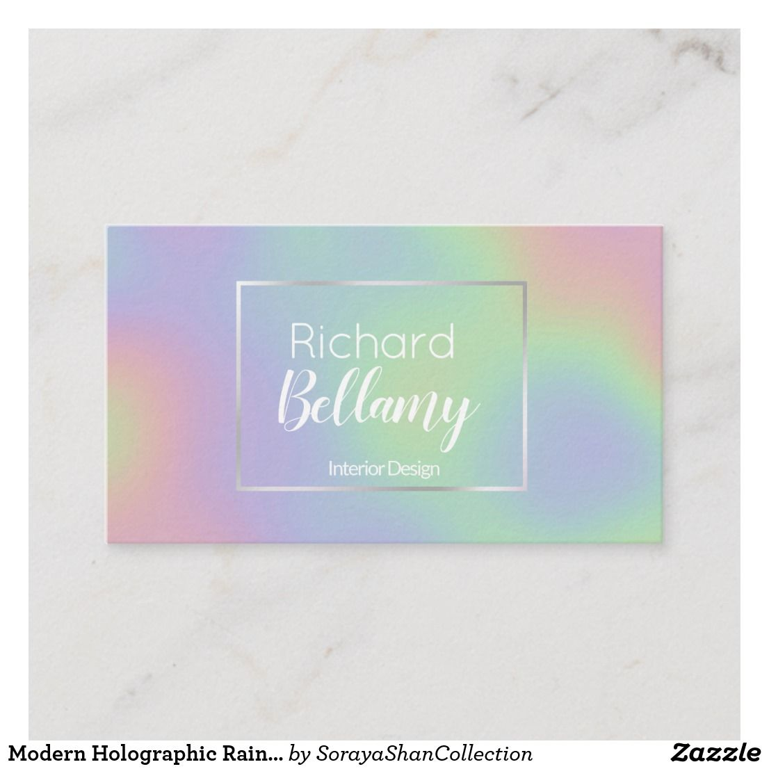Modern Holographic Rainbow Metal Business Card Zazzle Com In 2021 Metal Business Cards Holographic Unique Business Cards