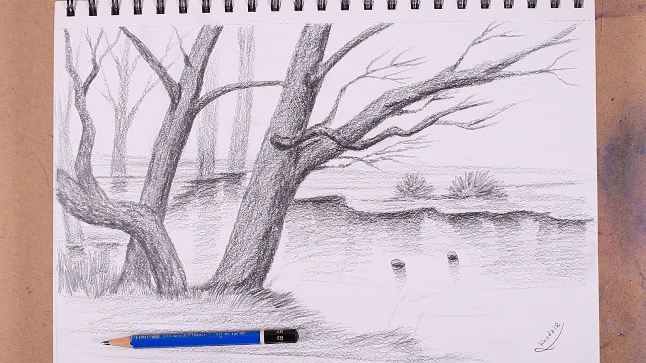 Learning To Draw Trees With Pencil Is Very Simple Realistic Drawing Tree Drawing Realistic Drawings Abstract Artwork