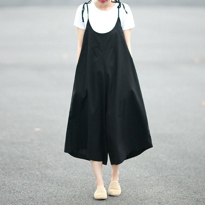 e0f54cd33d2b Loose Summer Casual Women Linen Plain Black Jumpsuit Pants ...