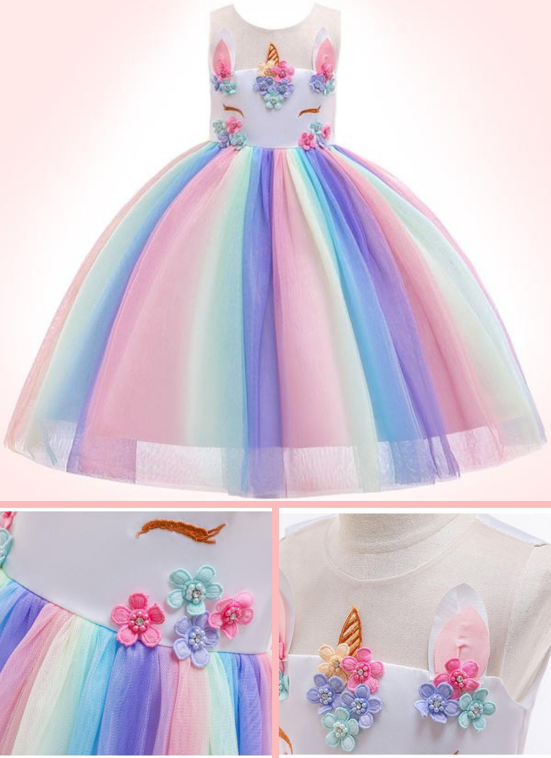 d94613dd3db4 Designed with multiple tulle and tutu peplum, making it a lovely unicorn  princess dress for realizing your little girl's princess dream.