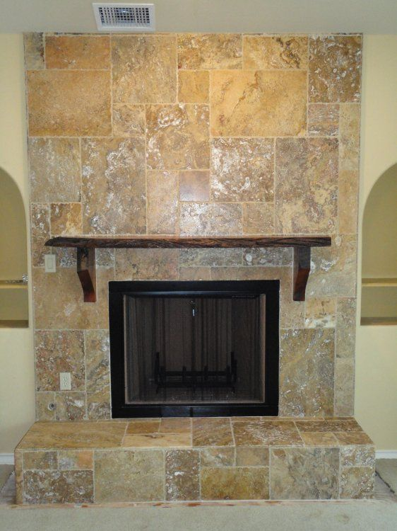 Maybe We Should Remodel The Fireplace With Travertine Tile Fireplace Remodel Fireplace Fireplace Tile