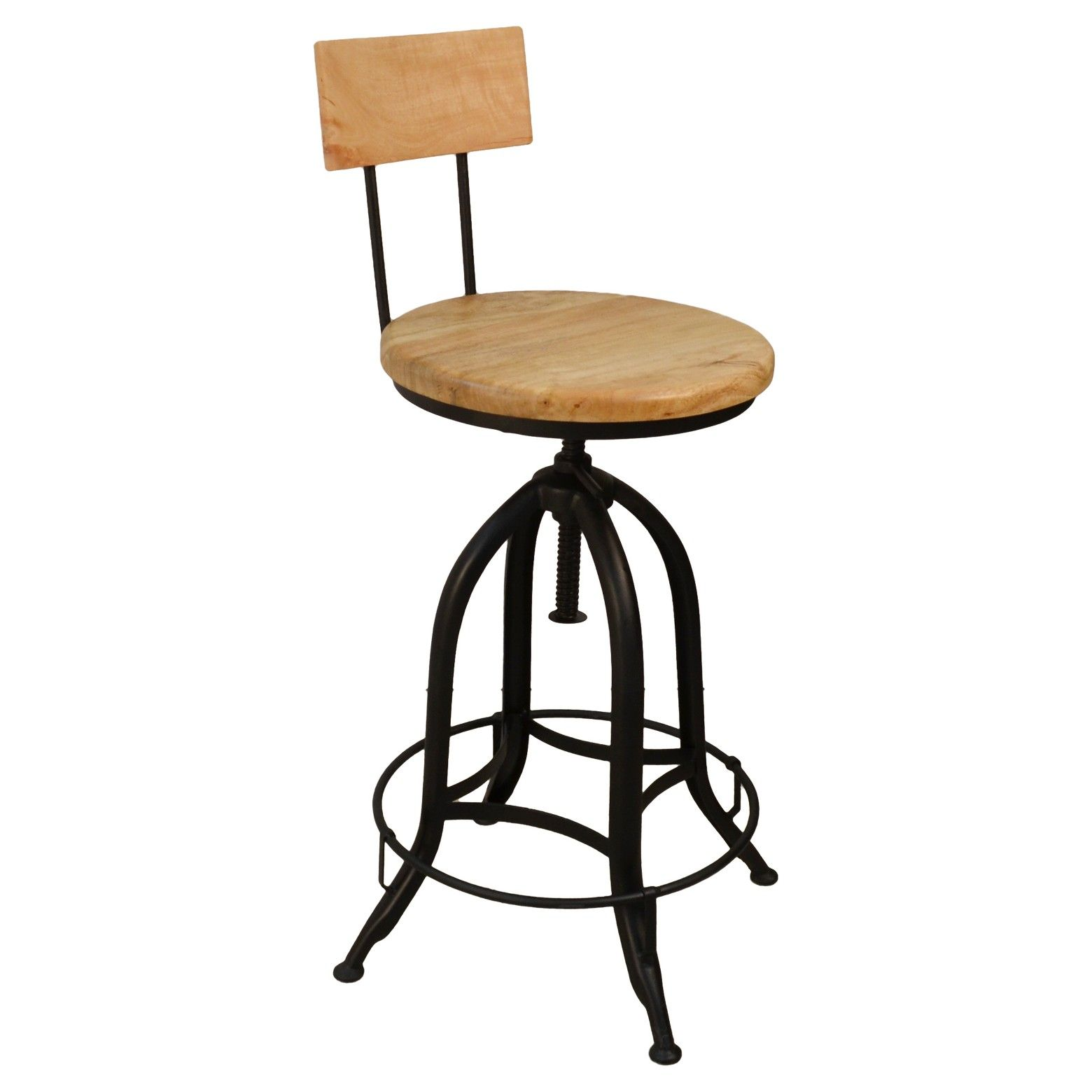 The Wren Adjustable Stool With Back Rest Has A Sleek And Elegant