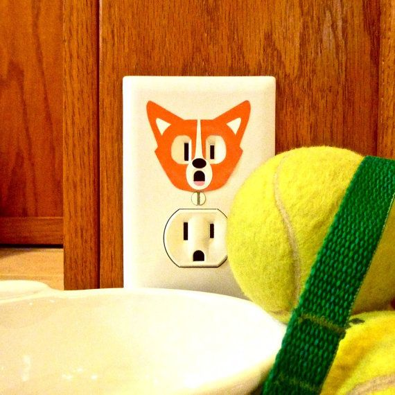 Corgi - Electric Outlet Wall Art Sticker Decal | Corgi, Outlets and ...
