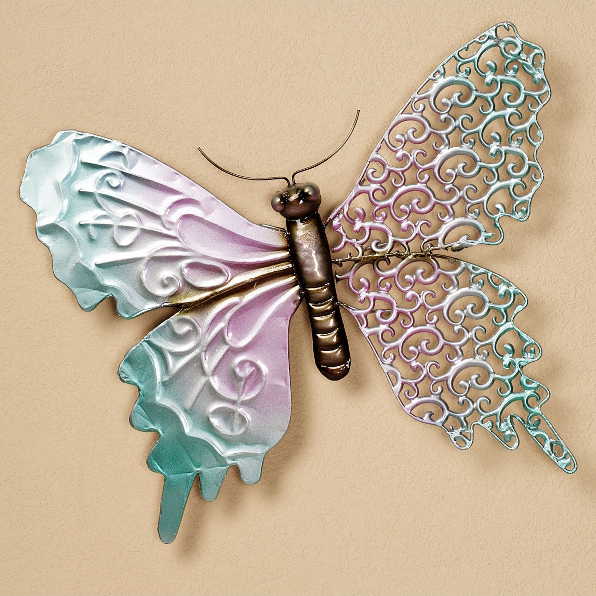 Scrolling Wing Butterfly Metal Wall Art