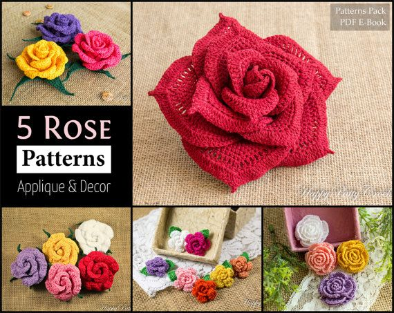 5 Crochet Rose Pattern Bundle - All Sizes, Mini to Large Crochet ...
