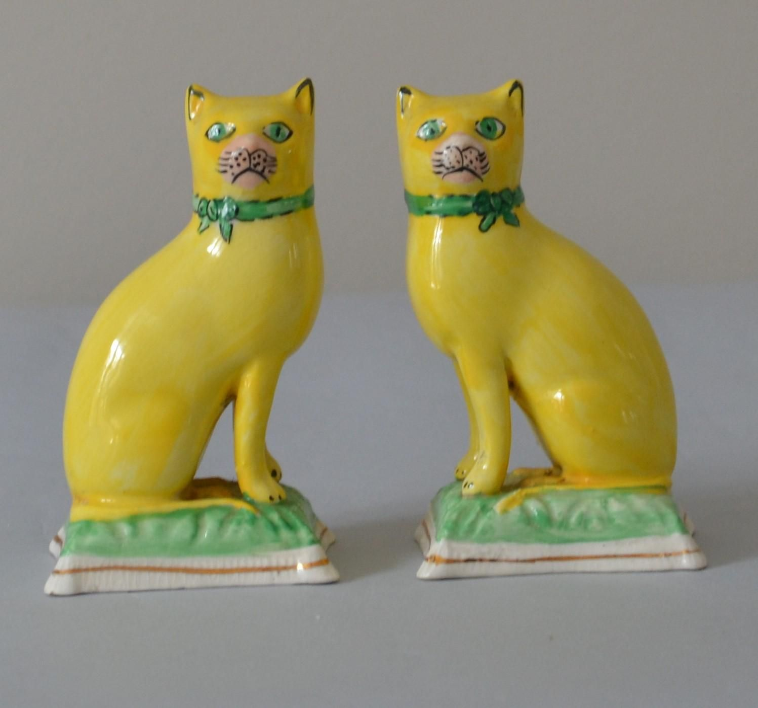 Antique Staffordshire Cats With Yellow