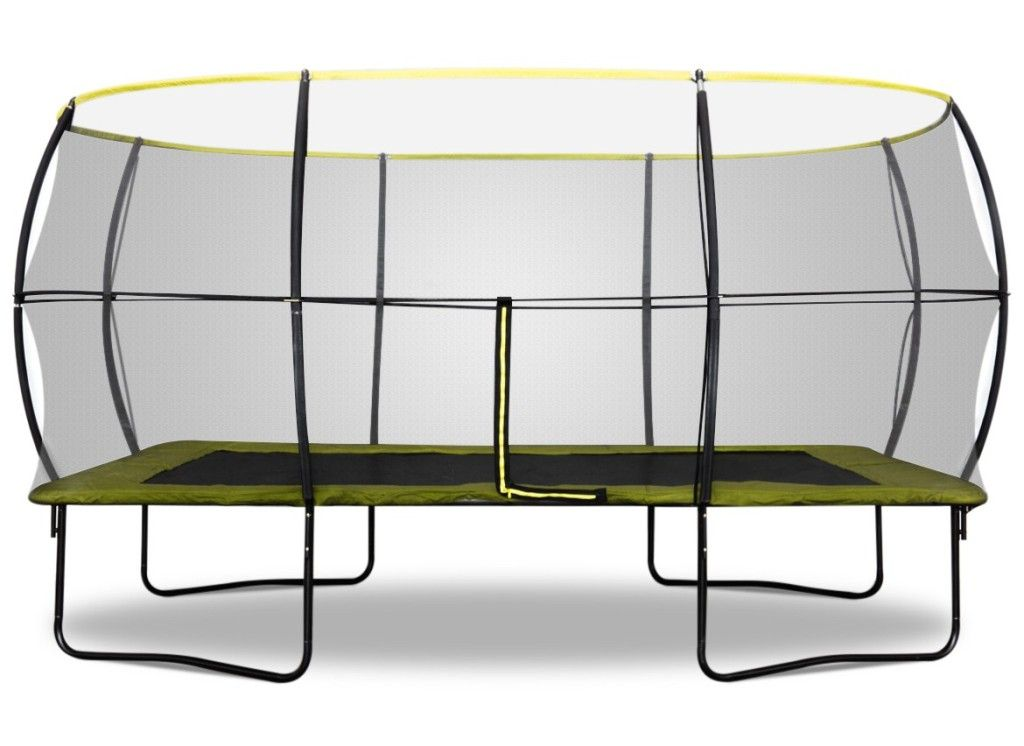 Exterior trampoline rectangle decathlon from round or for Trampoline piscine decathlon