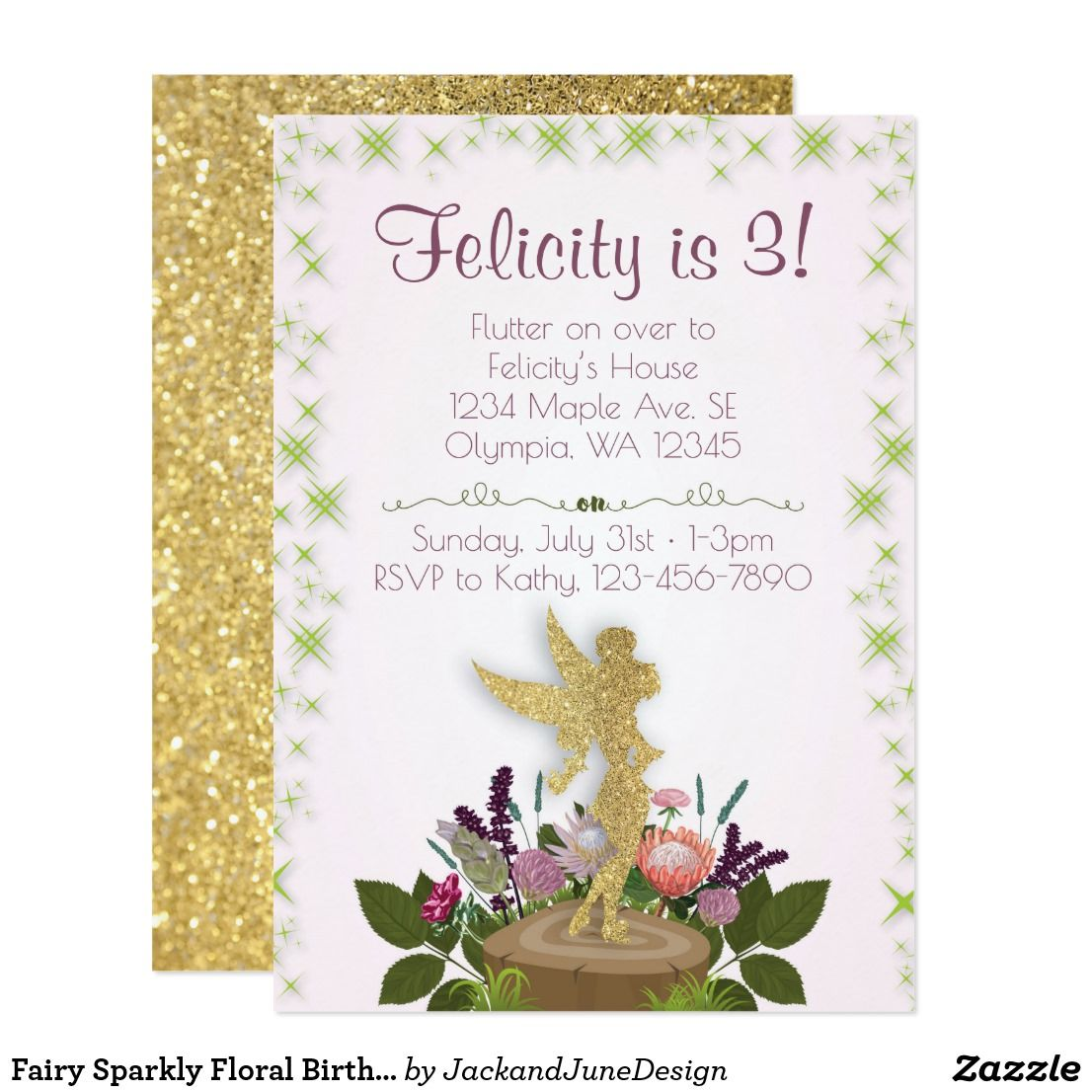 Fairy Sparkly Floral Birthday Party Invitation | Party invitations ...