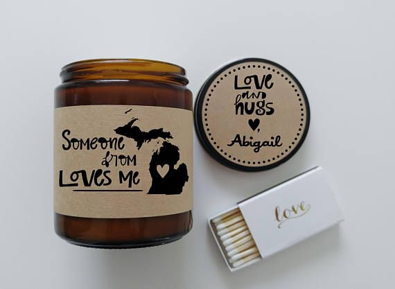 Michigan Love Someone from Michigan Loves Me Long Distance Gift LDR Gift Miss You Heart in Michigan