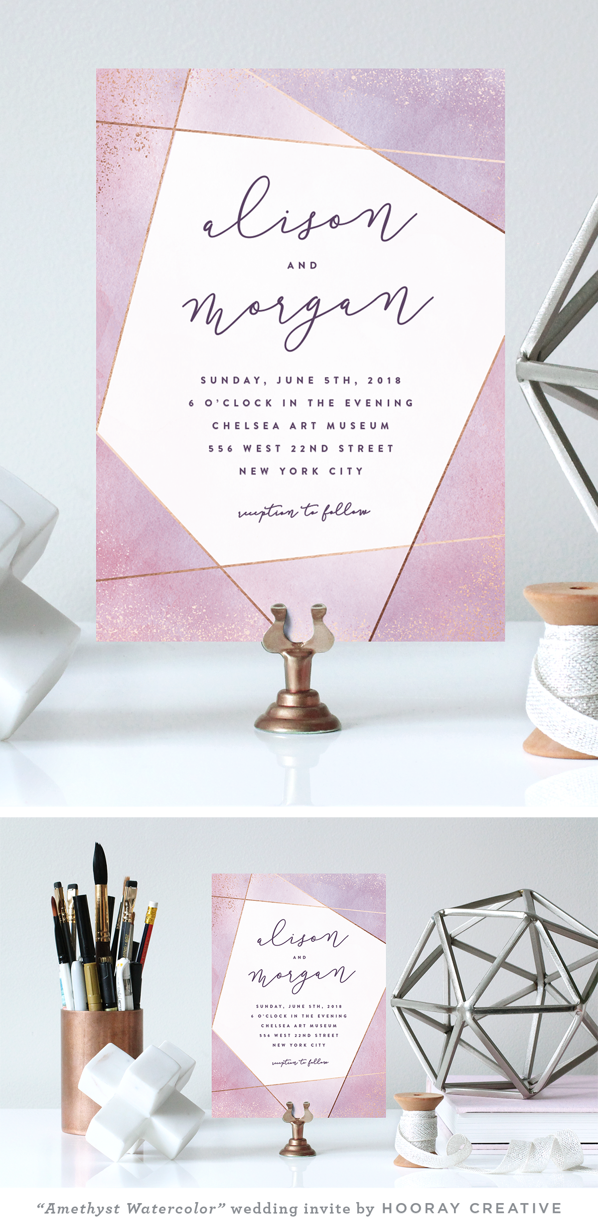 Amethyst Watercolor In 2019 Wedding Invitation Cards Wedding