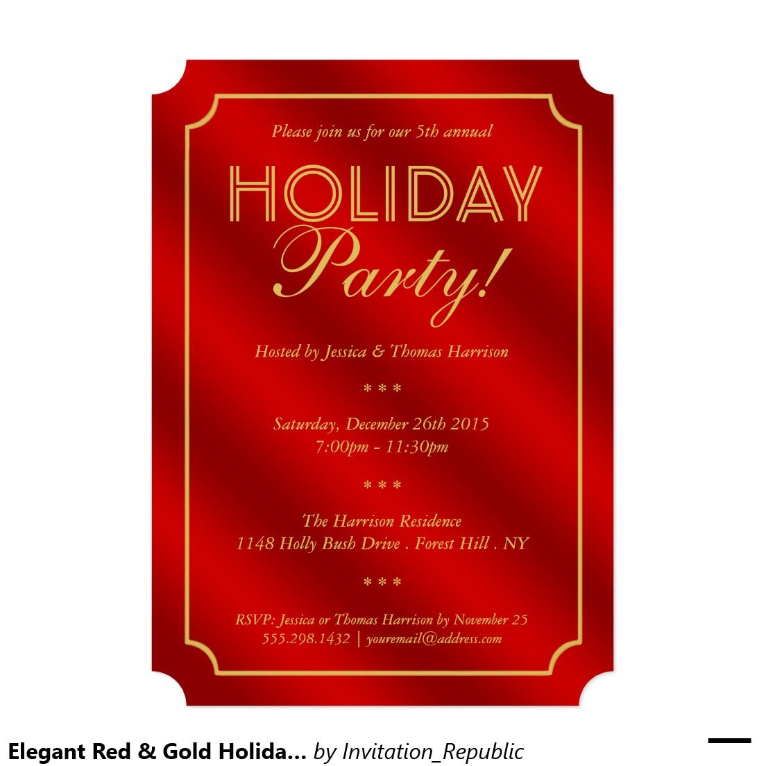 Elegant Red & Gold Holiday Party 5x7 Paper Invitation Card
