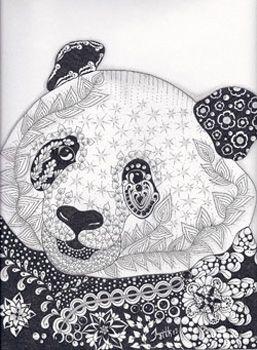 panda zentangled zoo animal wildlife insect coloring