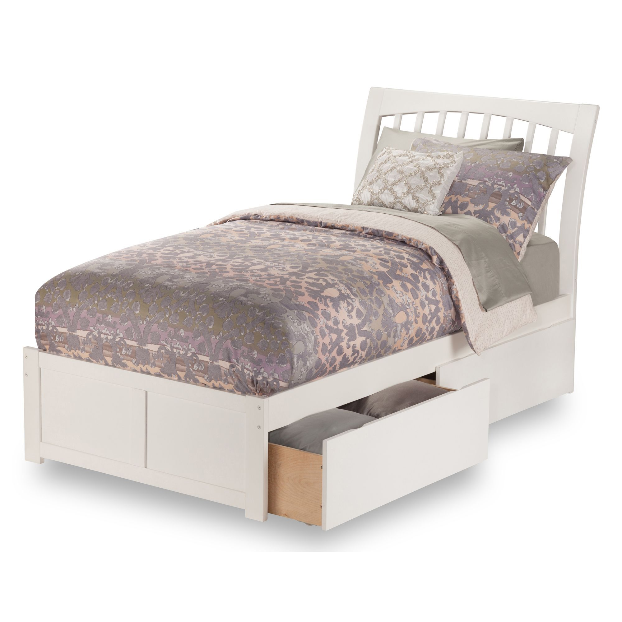 Atlantic Orleans White Twin Size Flat Panel Foot Board Bed With 2