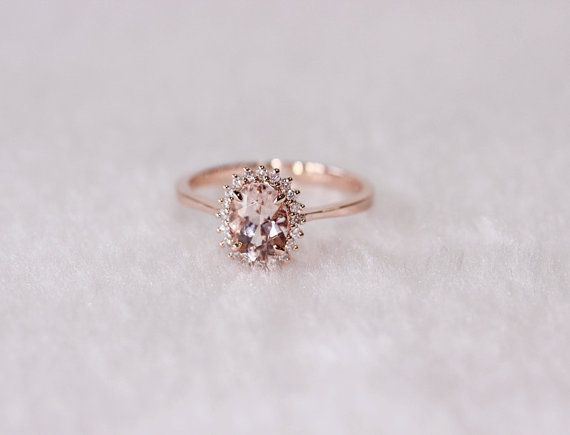 New Flower Design 6x8mm Morganite Ring SI/H by AdamJewelry on Etsy, $444.00