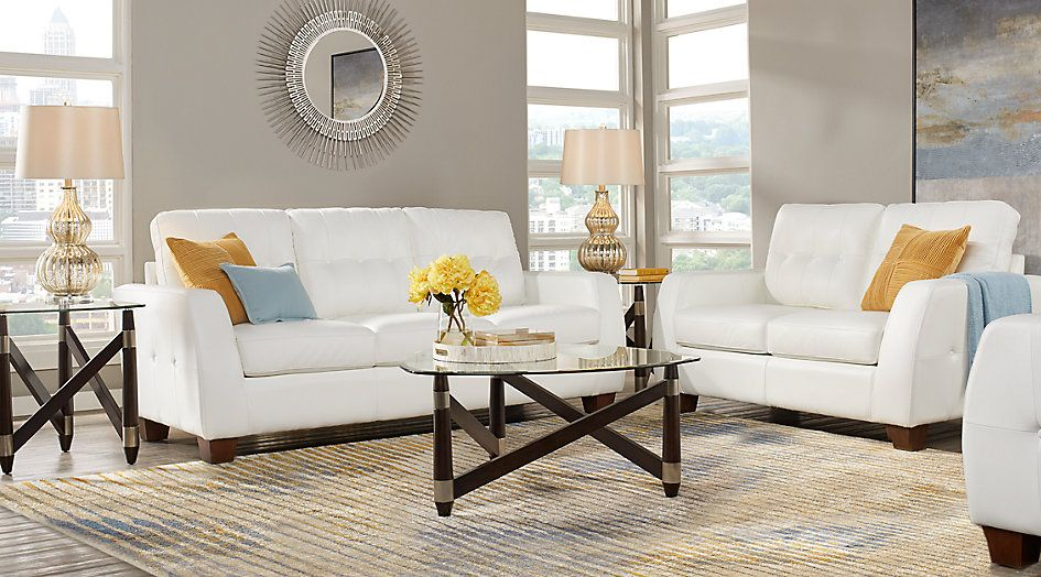 Santoro White Leather 3 Pc Living Room | Living room set ...