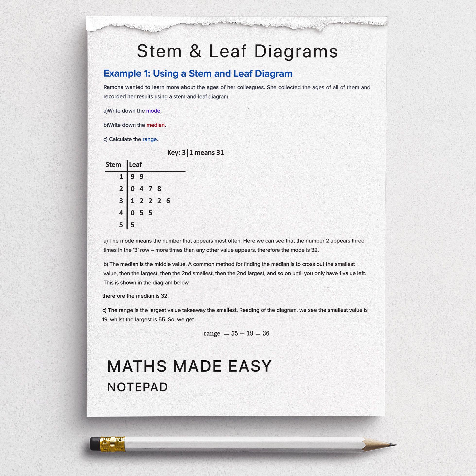 Stem And Leaf Diagrams Worksheets
