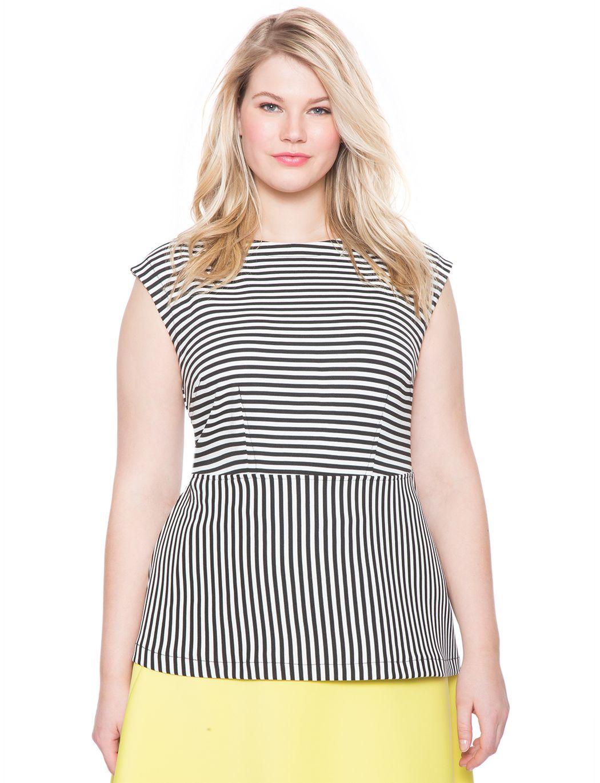 Striped Boat Neck Peplum Top | Women's Plus Size Tops | ELOQUII