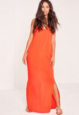 Deep V Back Maxi Dress Orange