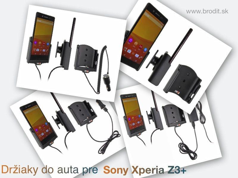 Nové držiaky do auta pre Sony Xperia Z3+. Pasívny držiak Brodit pre pevnú montáž v aute, aktívny s CL nabíjačkou, s USB konektorom alebo s Molex konektorom.