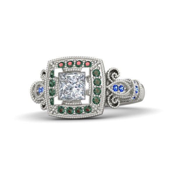 Princess Diamond Platinum Ring with Alexandrite & Sapphire - Dauphine Ring | Gemvara