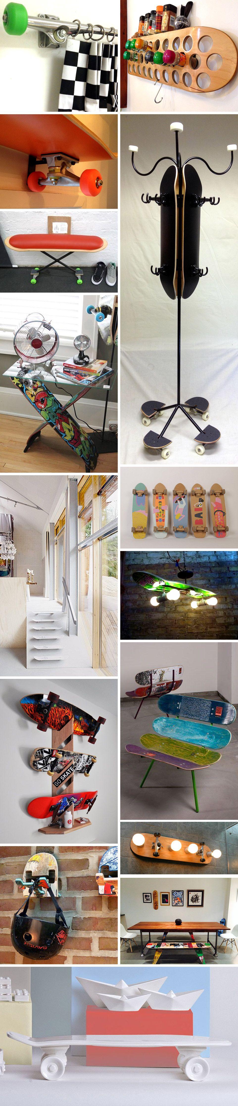 43 id es d co avec des planches de skateboard m bel jugendzimmer und kinderzimmer. Black Bedroom Furniture Sets. Home Design Ideas