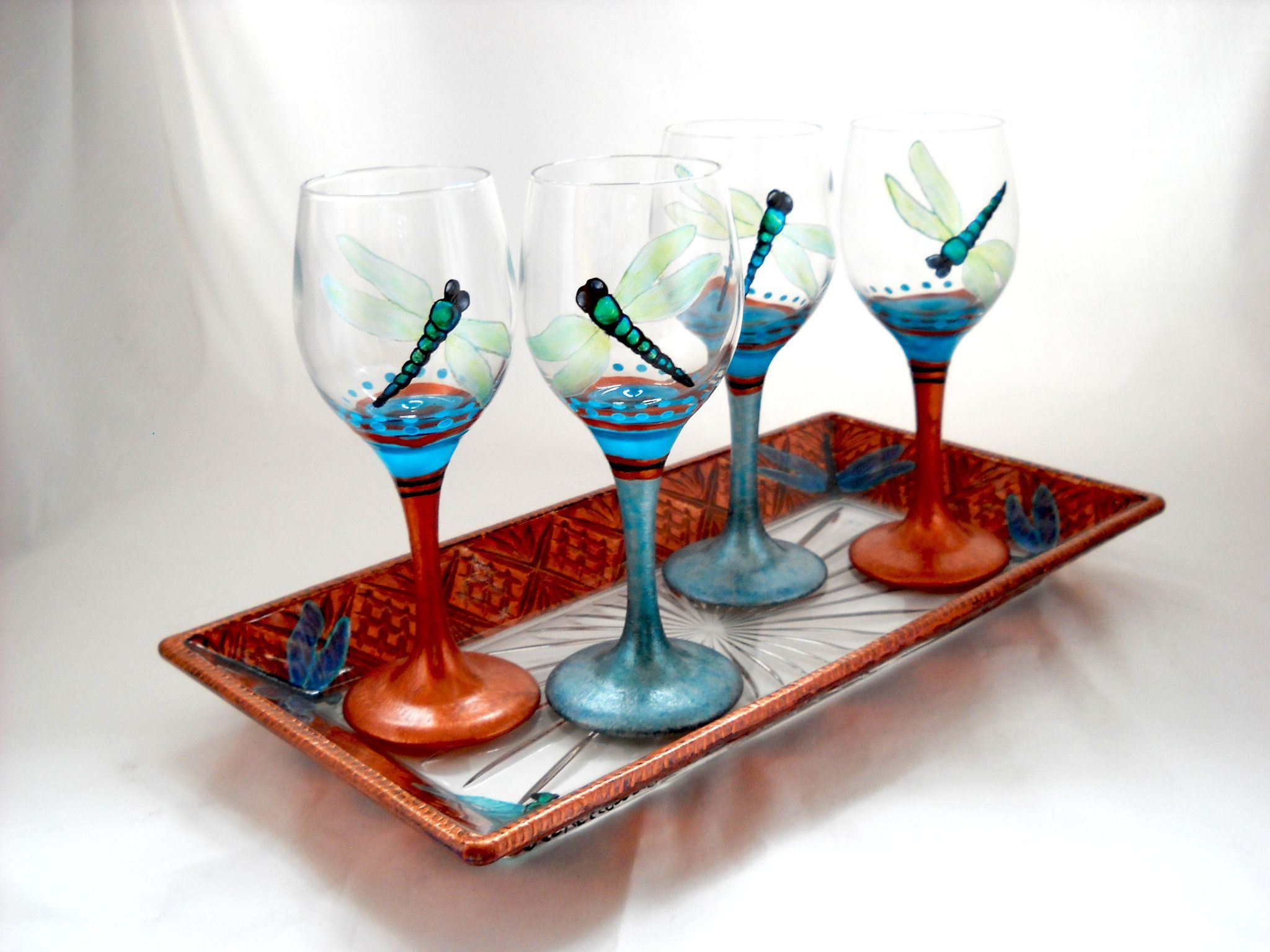 Dragonfly Mini Wine Glassware Hand Painted Cordial Glasses Wine Glassware Glassware Hand Painted