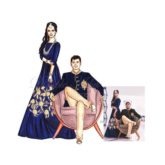 Custom Portrait Custom Illustration Friend Portrait Friend Gift Fashion Sketch Fashion Art Couple Po Custom Wedding Illustration Wedding Illustration
