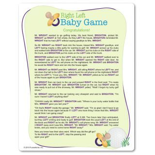 Charming Printable Right Left Baby Shower Game: Pass The Wrapped Gift Left Or Right  As The