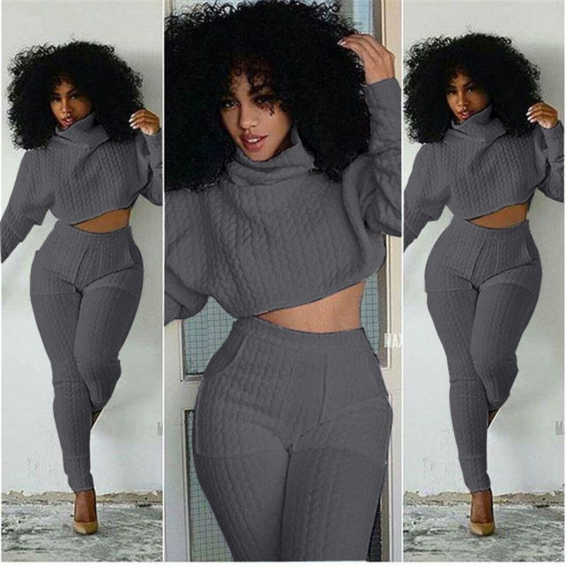 04a5f6bbfdb7 New Two Piece Outfit White Bodycon Bodysuit Club Rompers Womens Jumpsuit  Overalls Turtleneck Long Sleeve Crop Top And Long Pants