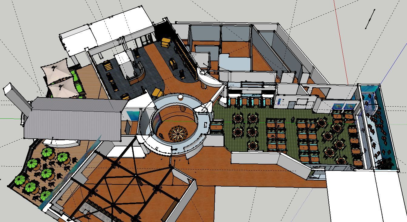 Rumfish grill overall restaurant layout looking south