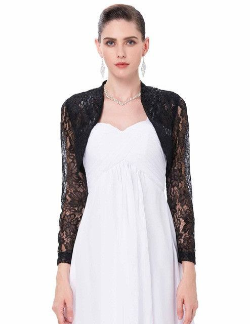 2fcca6169ca 4 Colors Sexy Lace Jacket Womens Ladies Long Sleeve Cropped Shrug Black  White Coat 2017 New Fashion Lace Bolero Plus Size