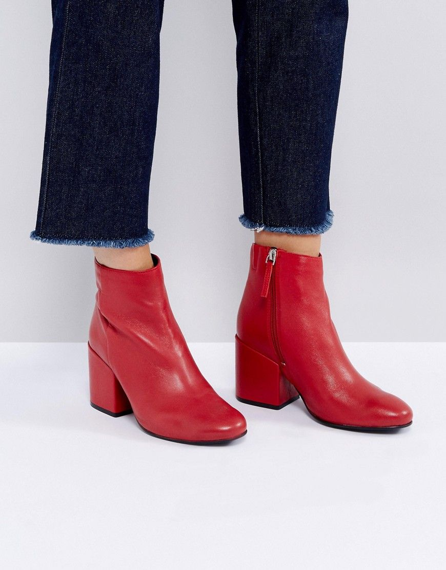 Pull Bear Leather Ankle Boot With Zip Details - Red   FITS  GOGO in ... 2d938ebd649