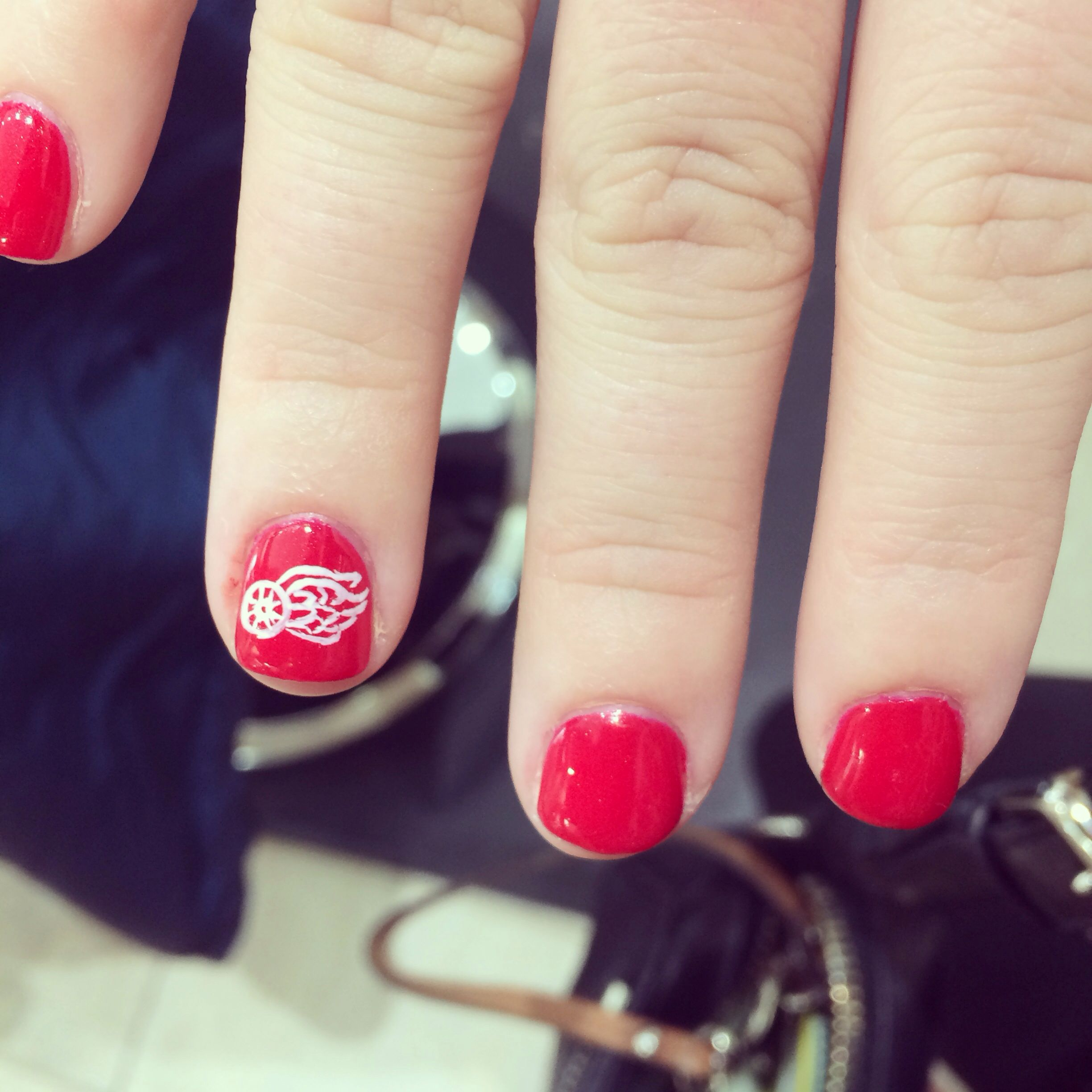 Red wings nails. #nailart #redwings #playoffs | Detroit Red Wings ...