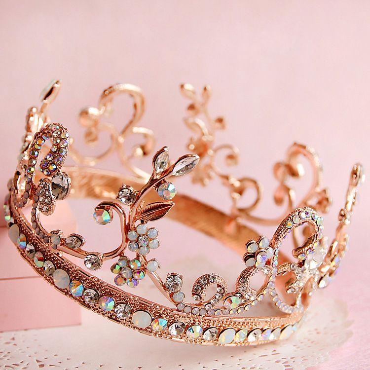 46ea4f27c05 gold colored gem bridal hair jewelry fashion round tiara elegant quinceanera  crown bridal headpiece wedding hair accessories