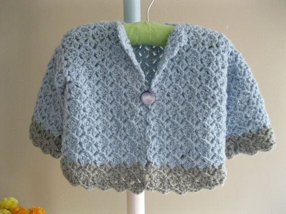 Crocheted Baby Sweaterwool cardigan by firstsnowflake on Etsy ...