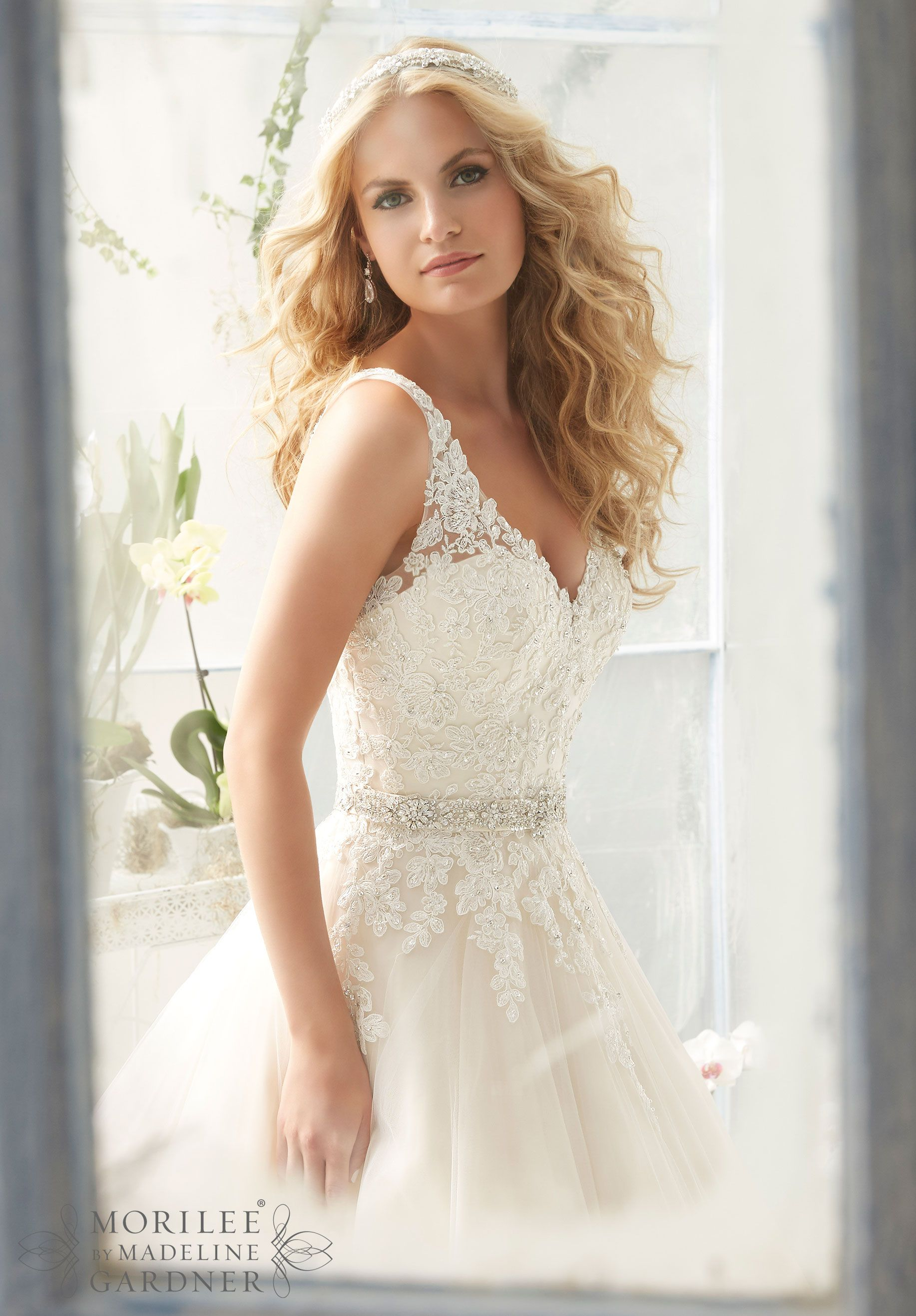 A line tulle wedding dress  Classic Tulle Wedding Dress with Crystal Beaded Alençon Lace