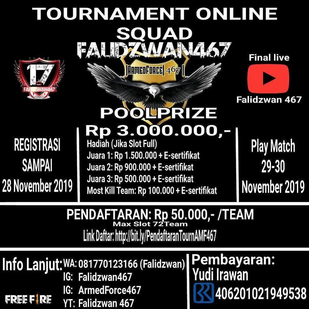 Info Tournament Free Fire Online Amf467 S1 Juara Hadiah