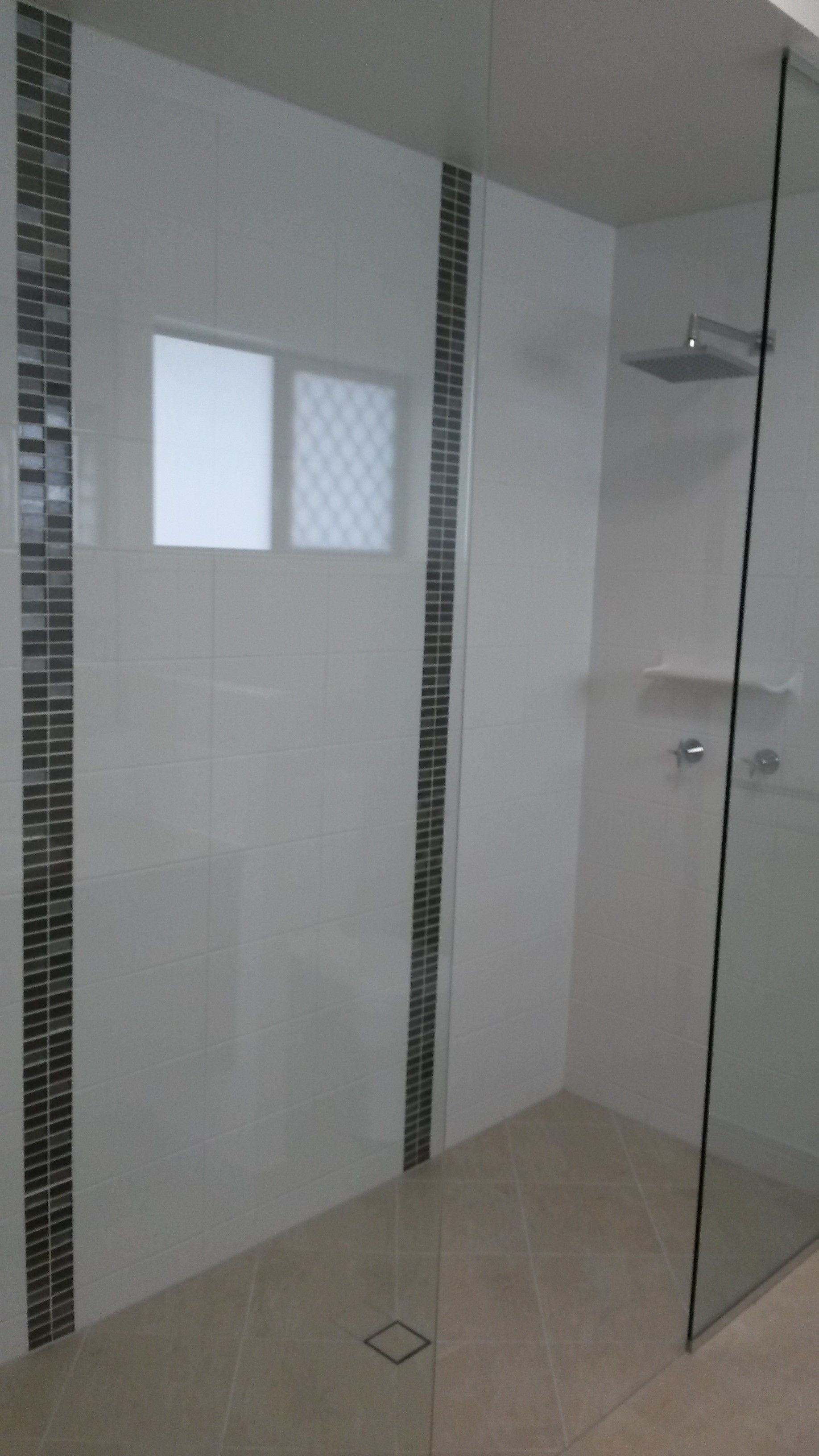 Bathroom With Double Shower And Vertical Feature Tiles New Grady