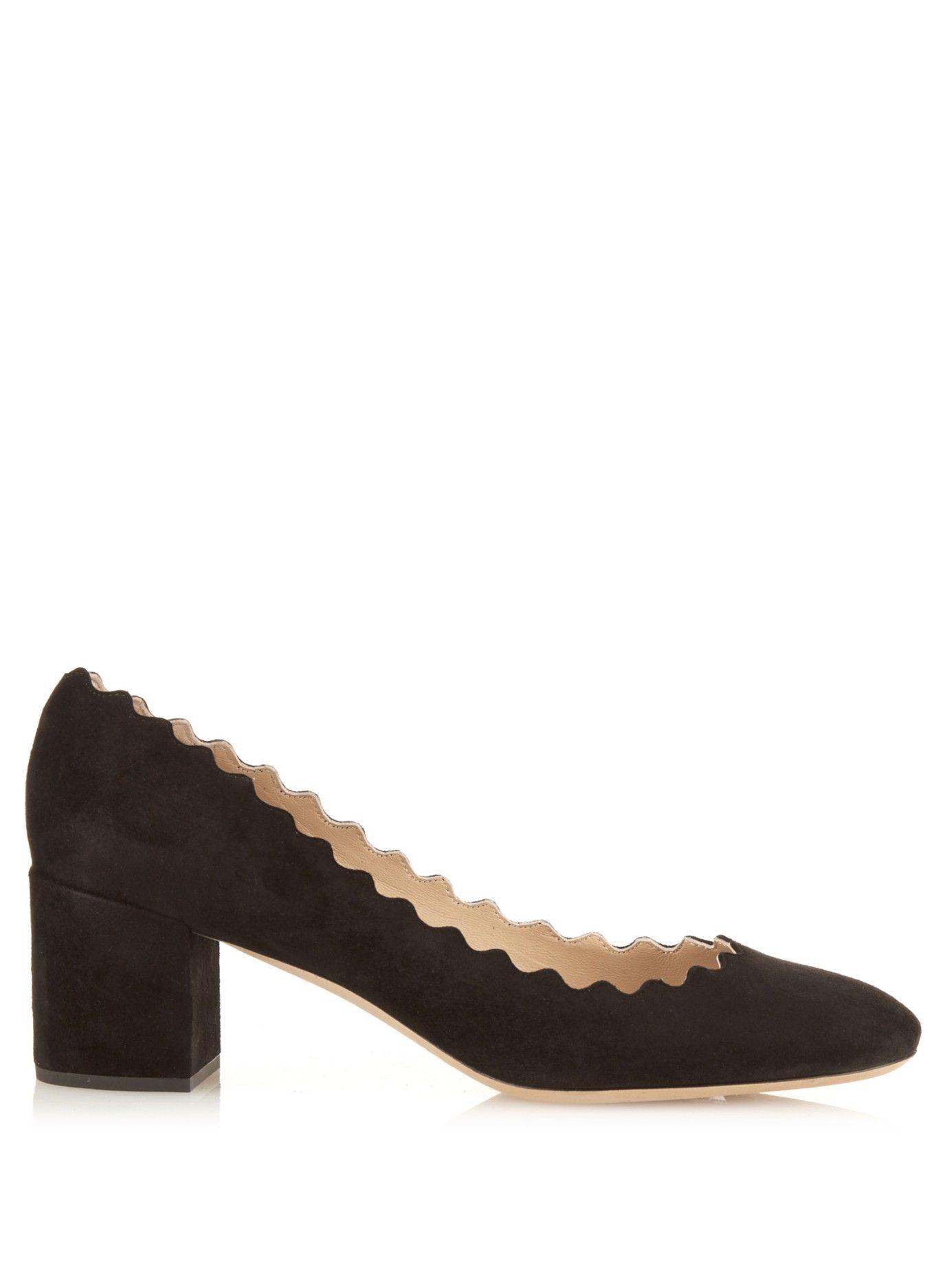 8c1c0c2a029 Lauren scalloped-edge block-heel suede pumps