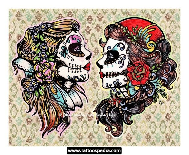 Tattoo Design Idea Flash Art 09 Sugar Skull Tattoos Tattoo Flash Art Flash Art