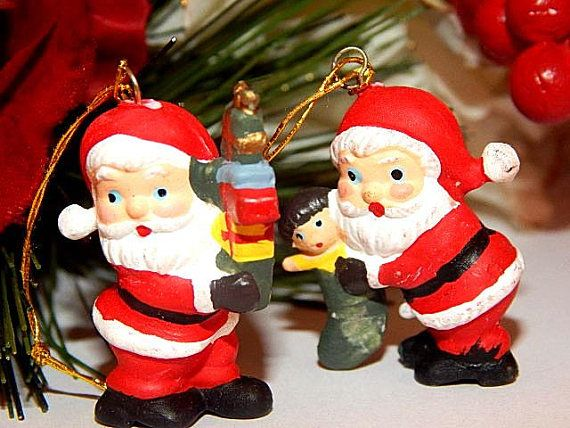 Santa Claus Miniature Christmas Tree Ornaments Two Vintage