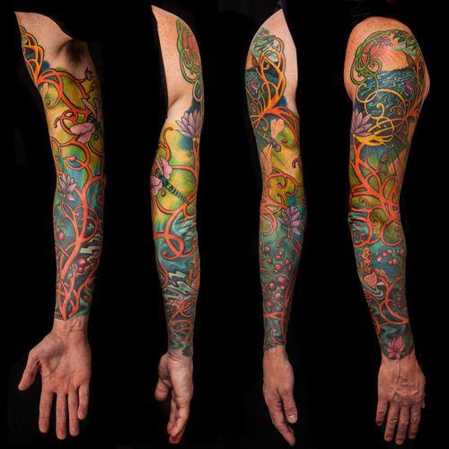 My Art Nouveau Sleeve By Craig Jackman At American Electric La Nouveau Tattoo Art Nouveau Tattoo Art Deco Tattoo