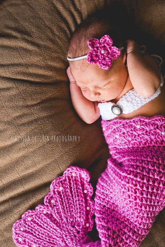 Crochet Newborn Mermaid Set-Mermaid Tail Bandeau by SweetpeasAlley ...