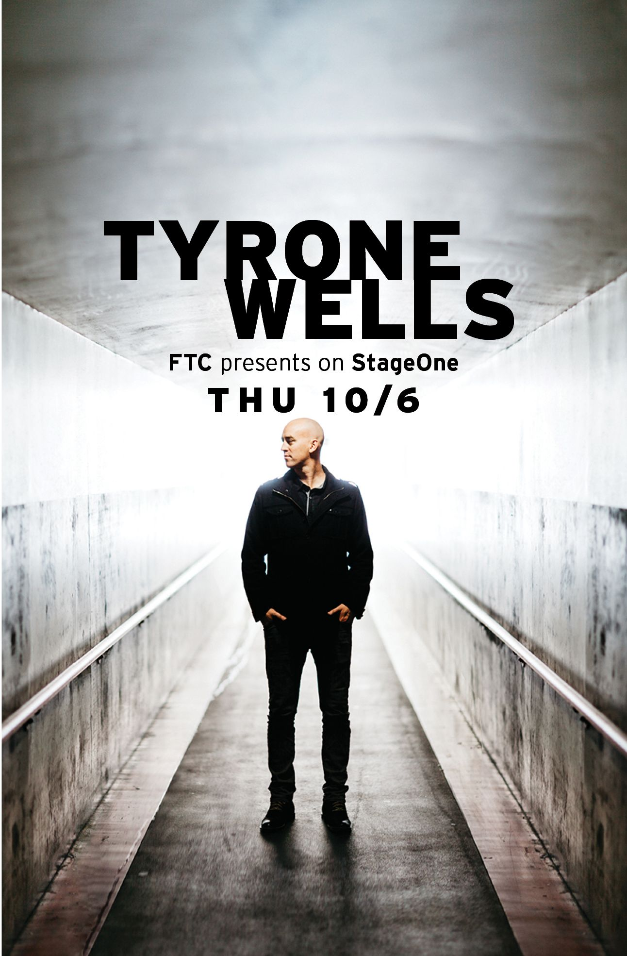 The sultry singer-songwriter Tyrone Wells at StageOne on Thursday October 6!